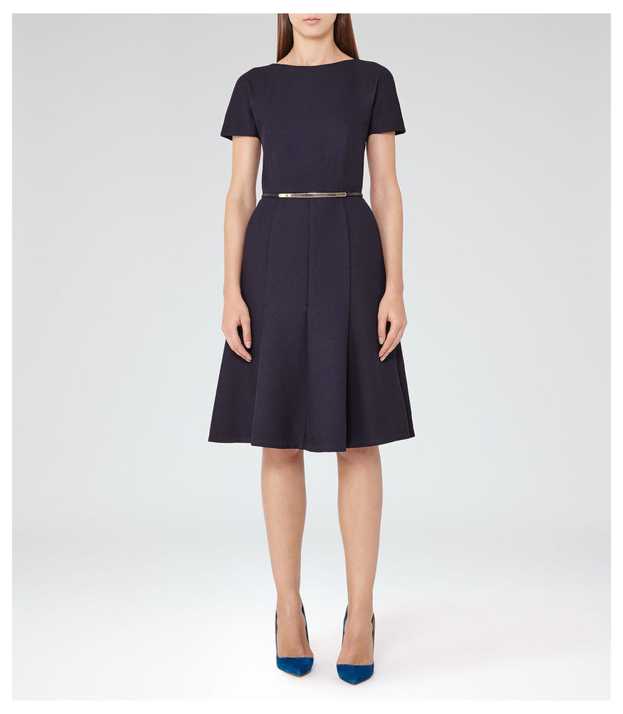 REISS Hazar - Womens Fit And Flare Midi Dress in Blue