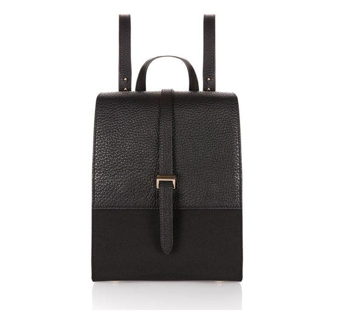 Azzurra Backpack Bag Black & Nylon Contrast