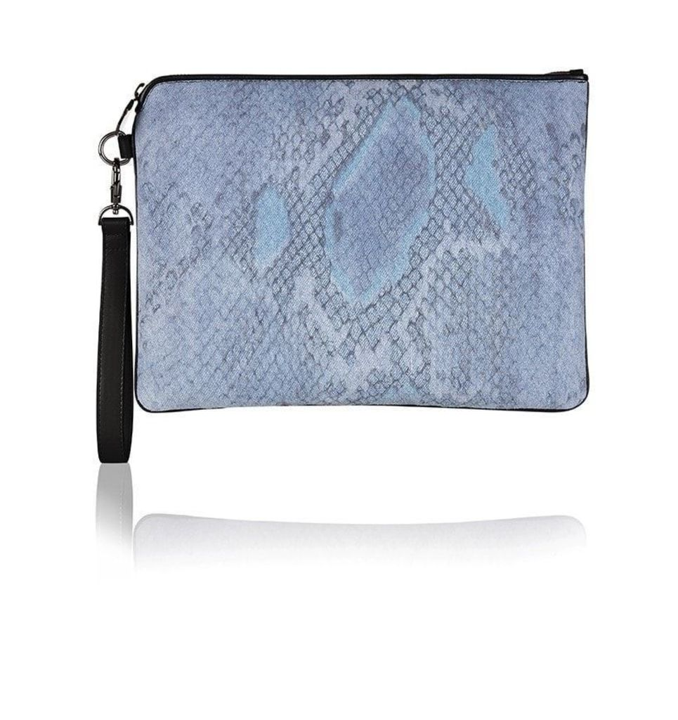Denim Snake Print Oversized Clutch Bag
