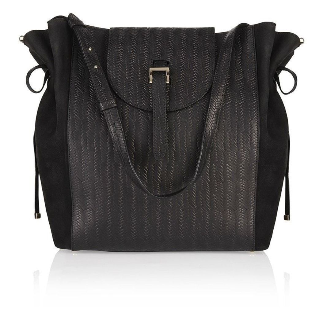 Fleming Medium Tote Bag Black Woven