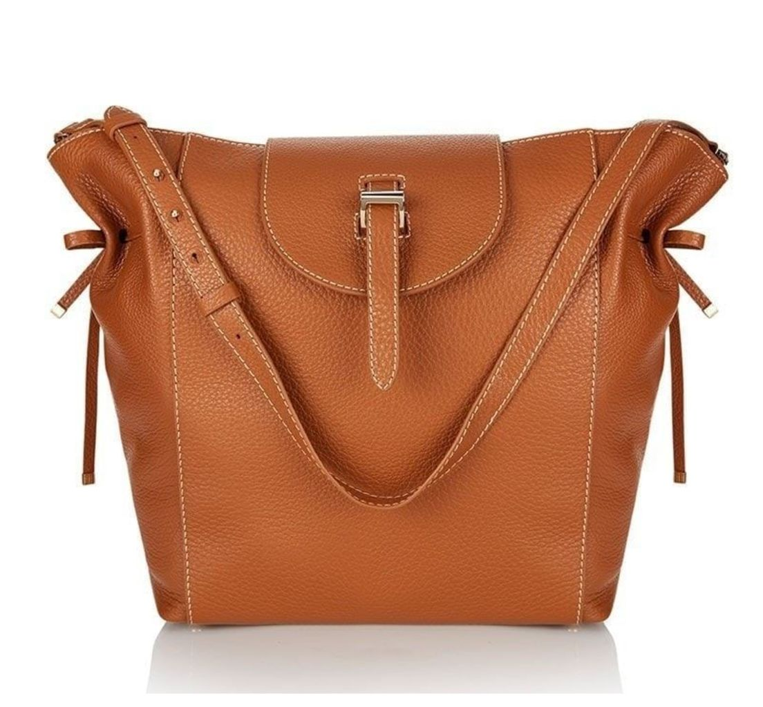 Fleming Tote Bag Tan with Contrast Stitching