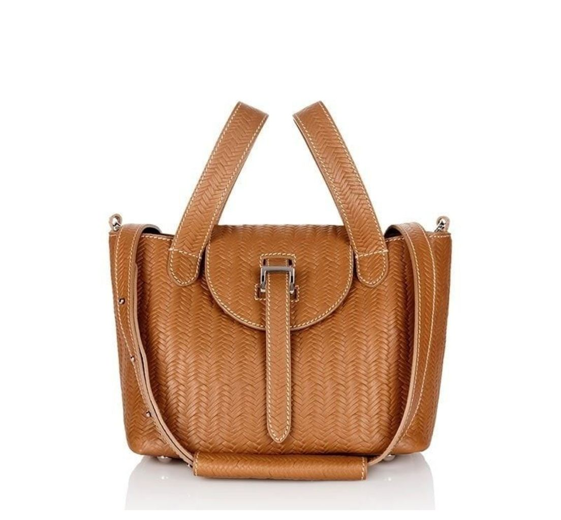 Thela Mini Cross Body Bag Light Tan Woven with Cream Stitching