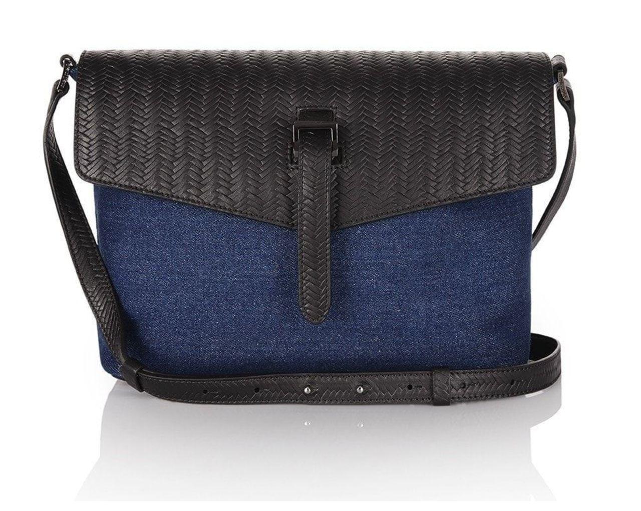 Maisie Medium Cross Body Bag Denim and Black Woven Leather