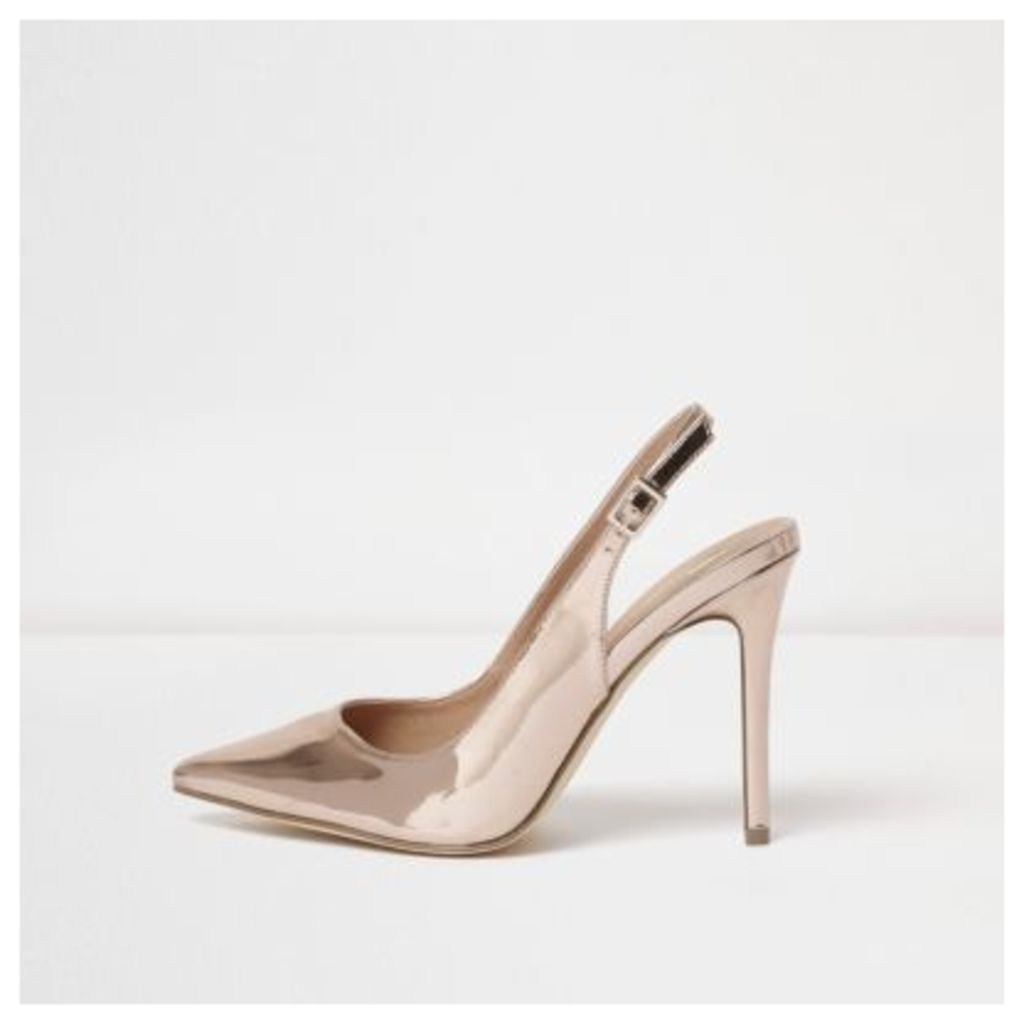 River Island Womens Gold metallic slingback court shoes