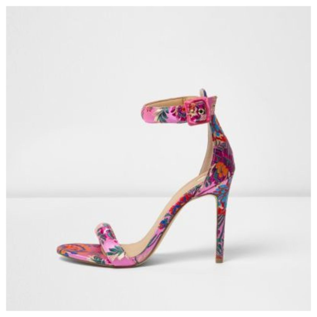 River Island Womens Pink floral print barely there sandals