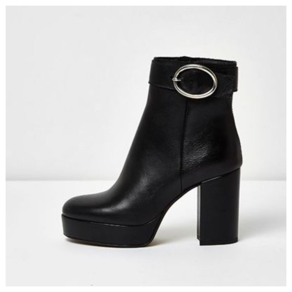 River Island Womens Black leather buckle platform heel boots
