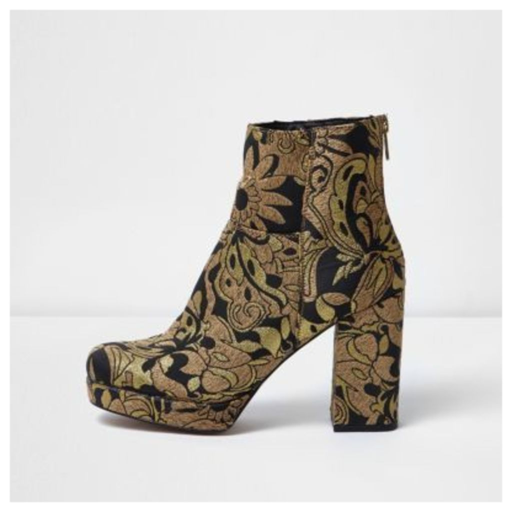 River Island Womens Gold embroidered platform boots