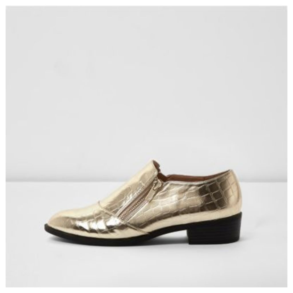 River Island Womens Gold scale zip shoes