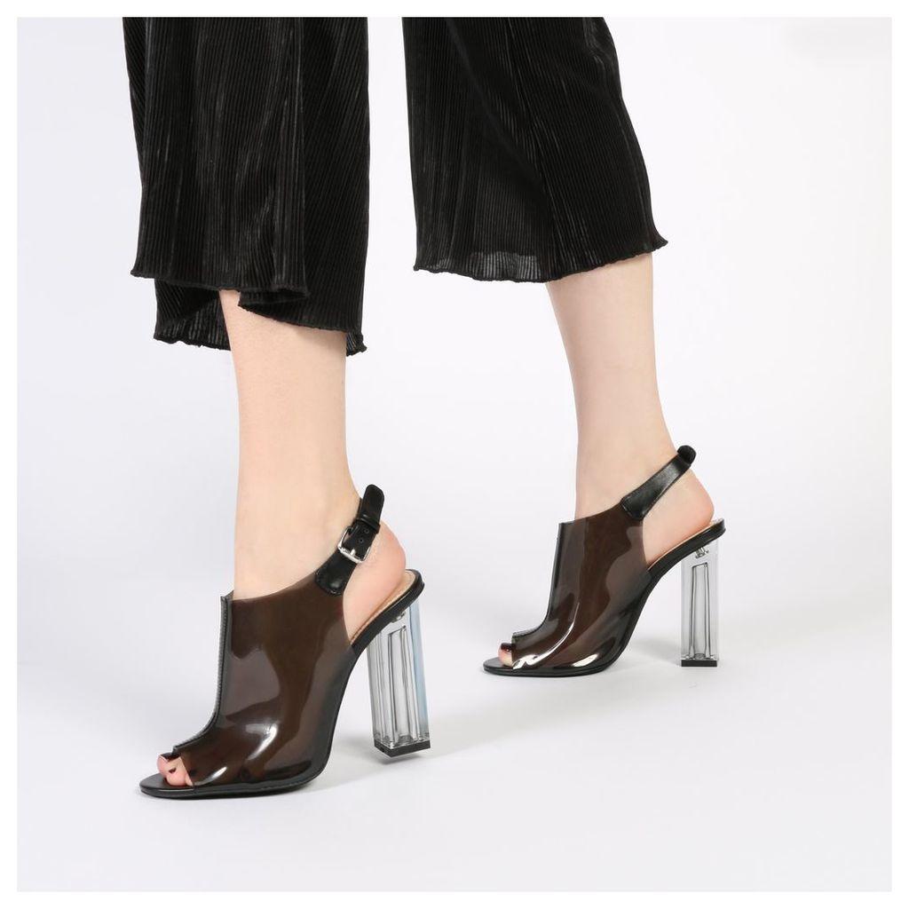 Kimmy Slingback Perspex Peeptoe Ankle Boots in Black, Black