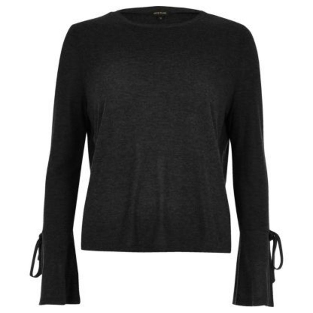 River Island Womens Black tied cuff top