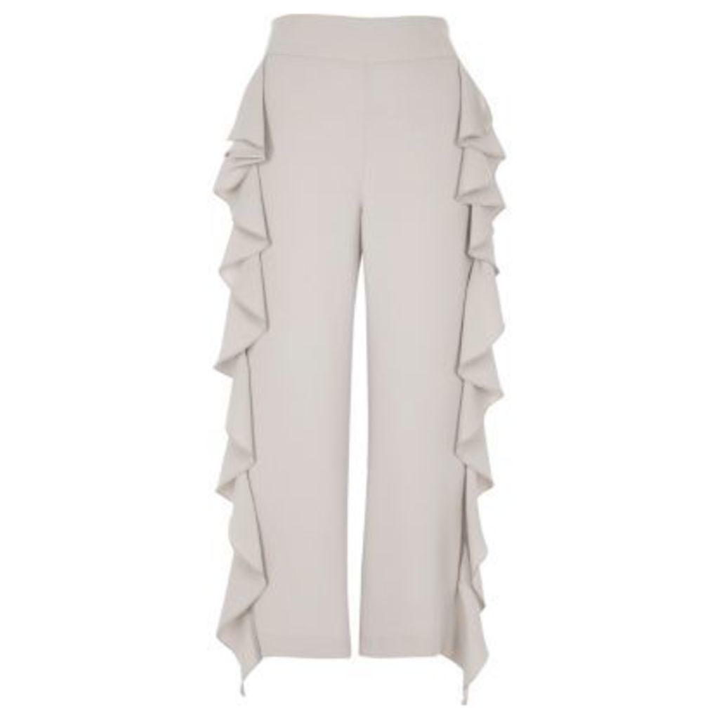 River Island Womens Grey cropped ruffle wide leg trousers