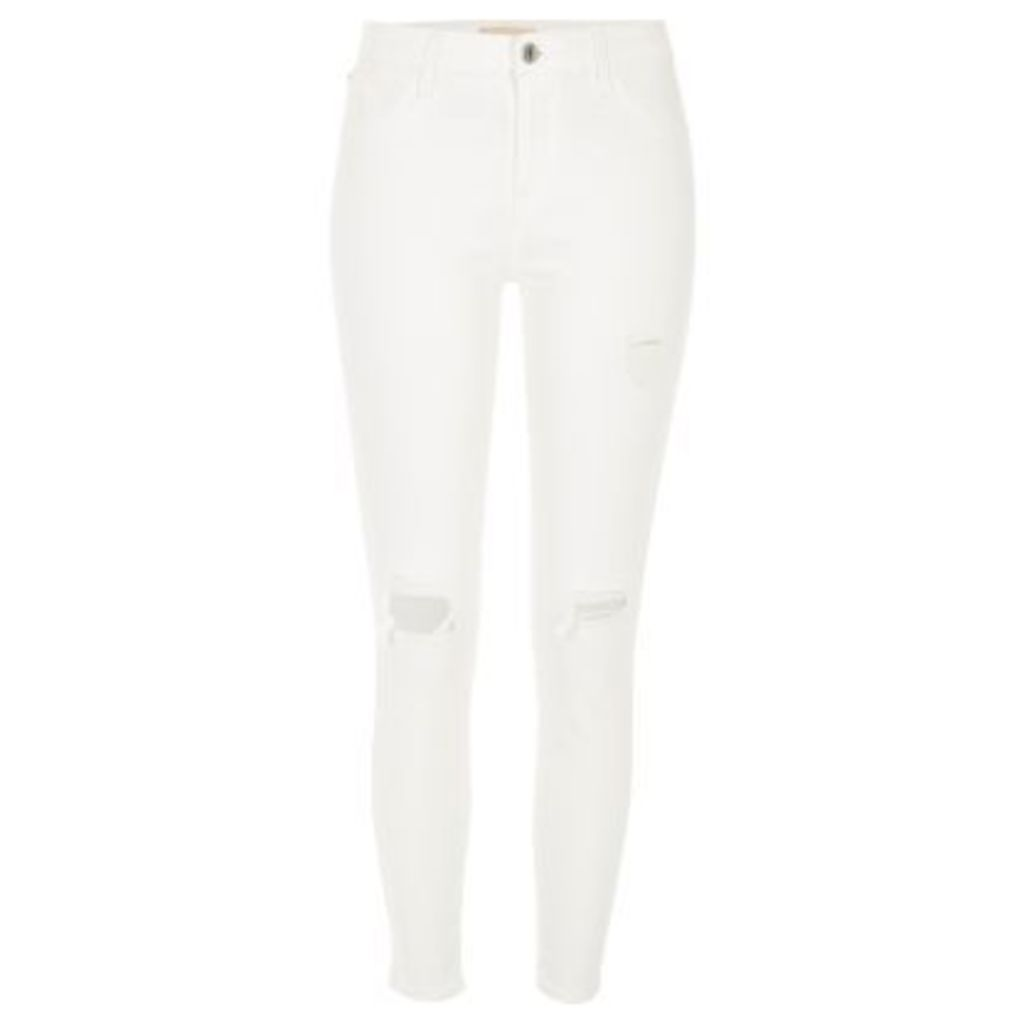 River Island Womens White Amelie super skinny ripped jeans