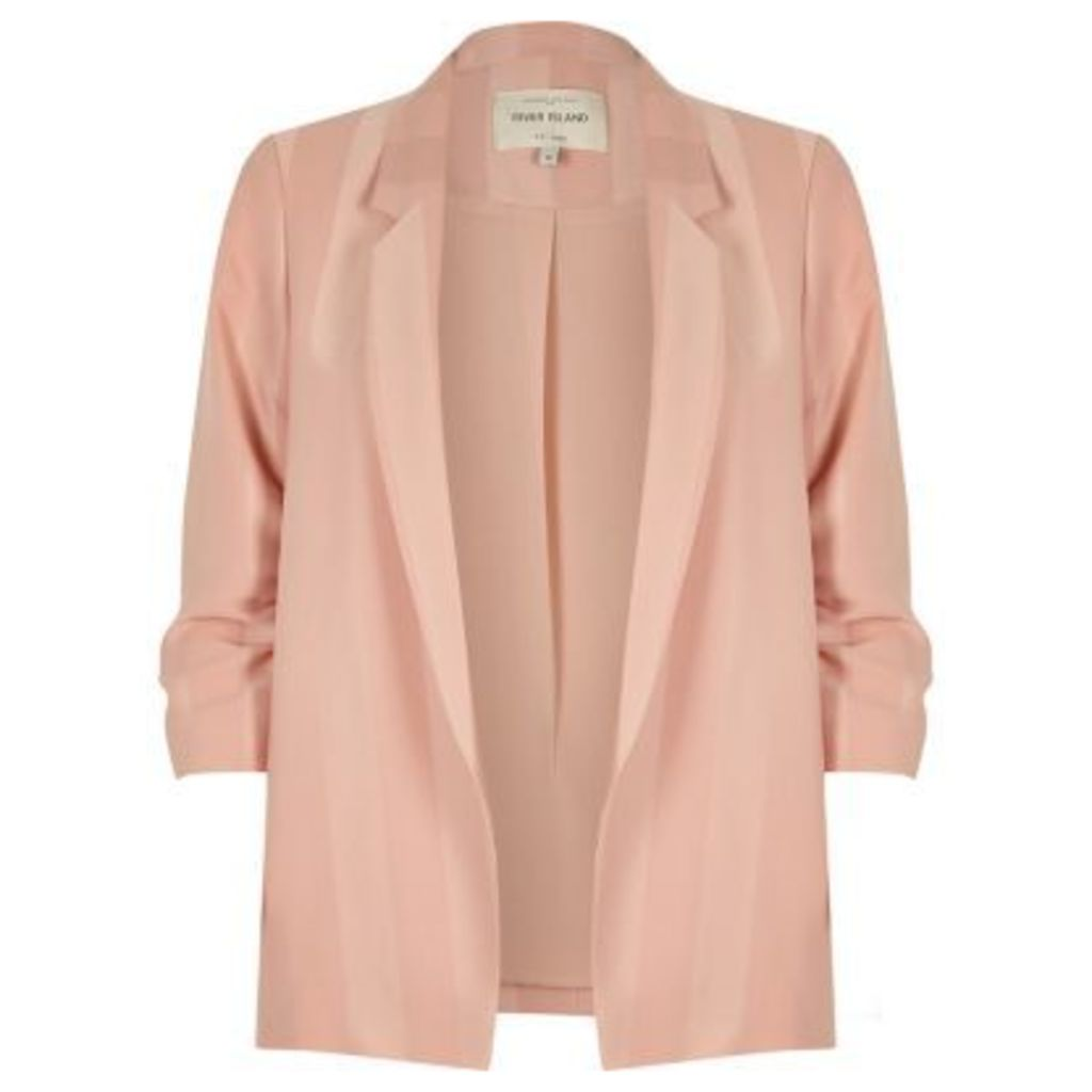 River Island Womens Plus blush Pink ruched sleeve blazer