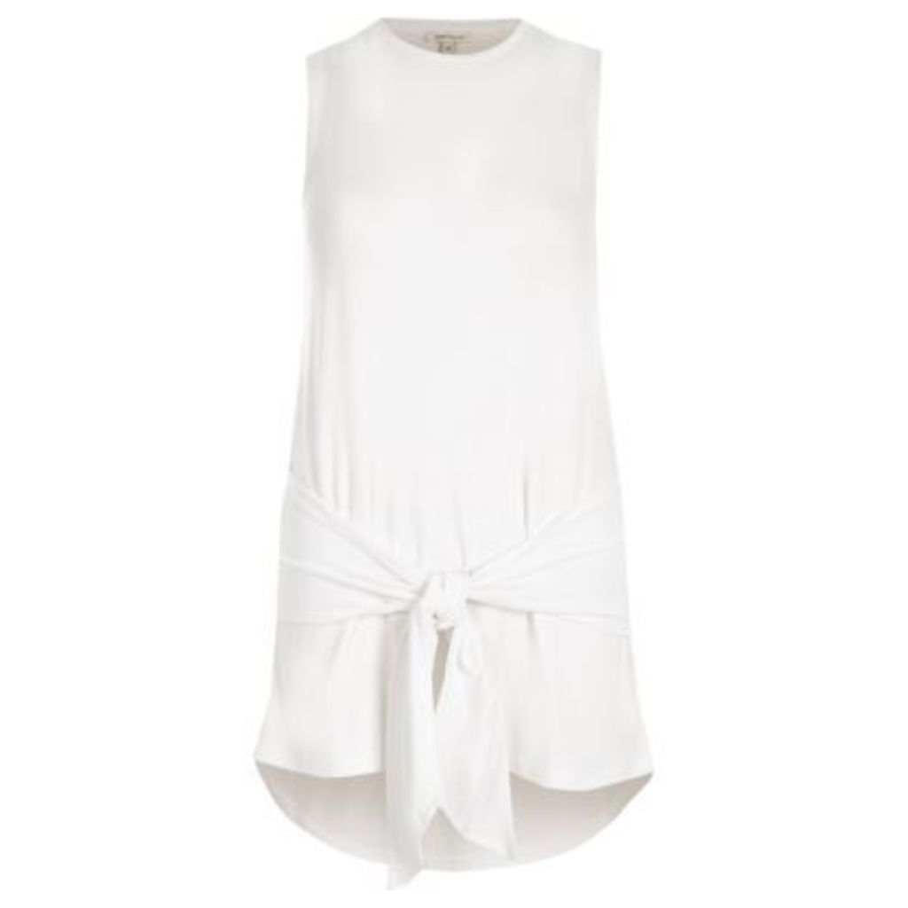 River Island Womens White tie front tank top