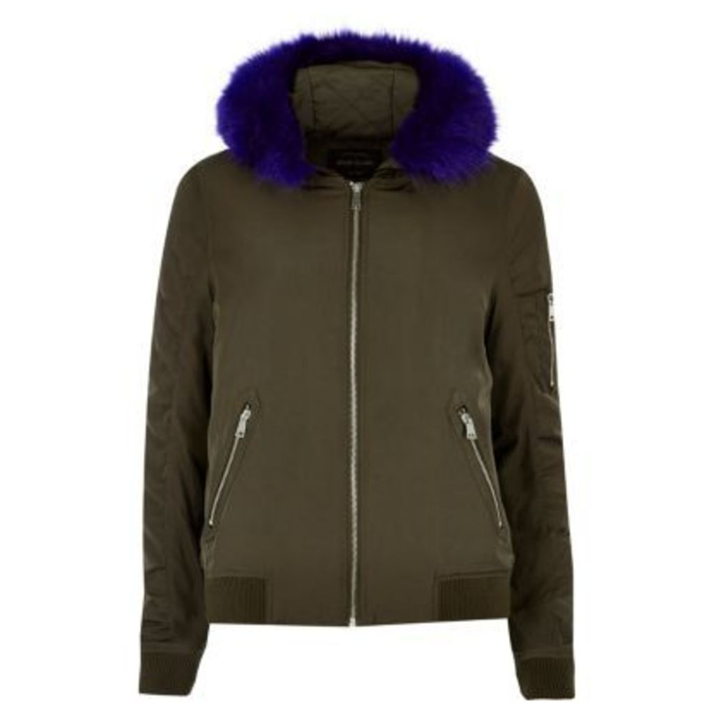 River Island Womens Khaki contrast faux fur hooded bomber jacket