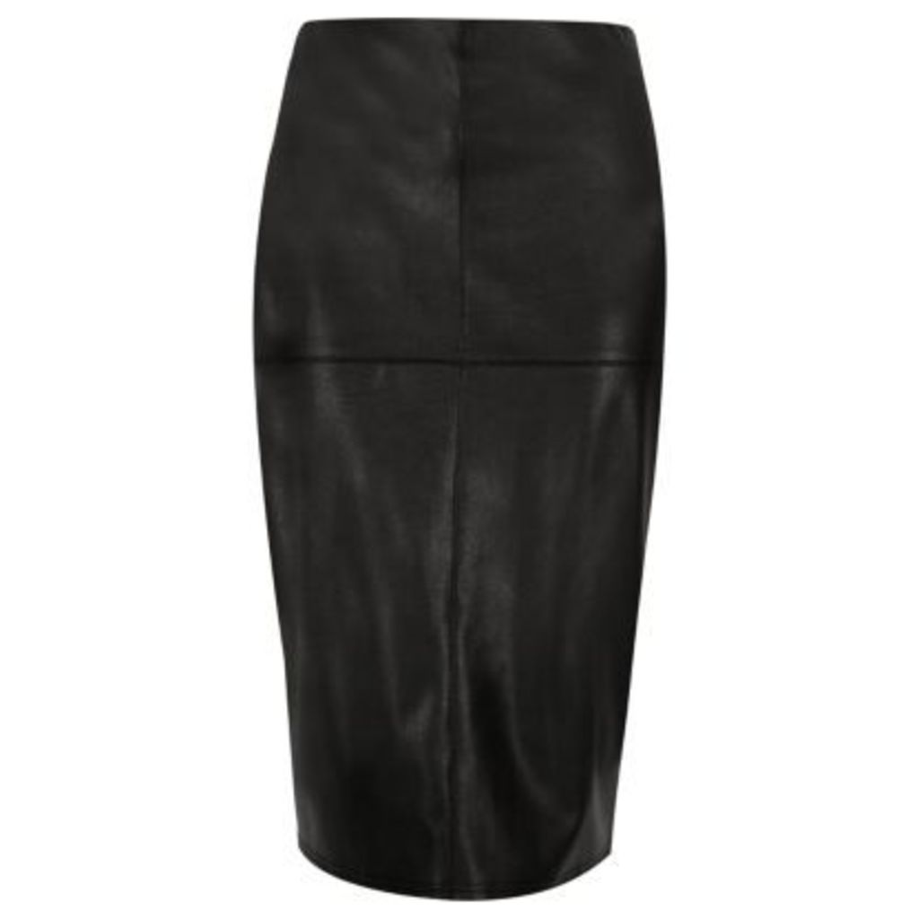 River Island Womens Black leather look pencil skirt