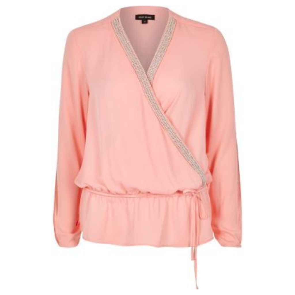 River Island Womens Pink embellished wrap blouse