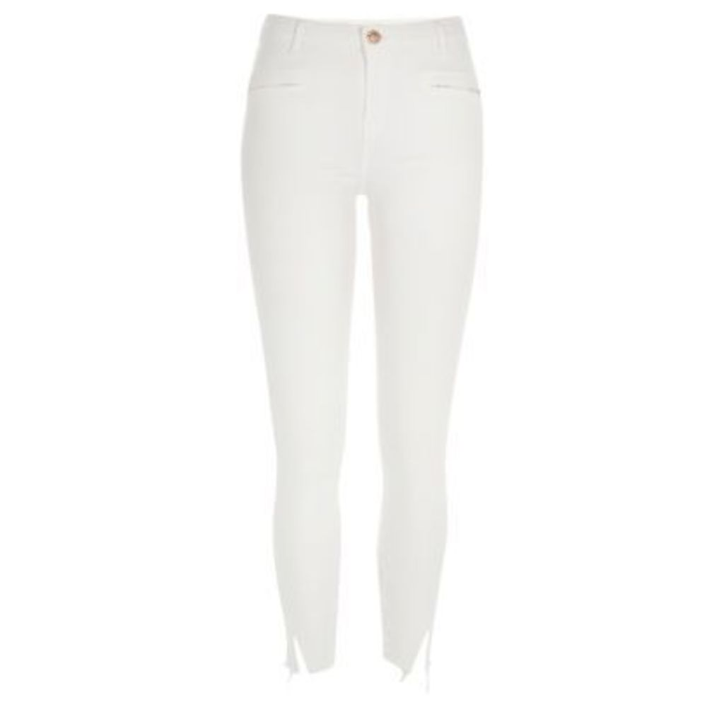 River Island Womens White distressed Molly jeggings