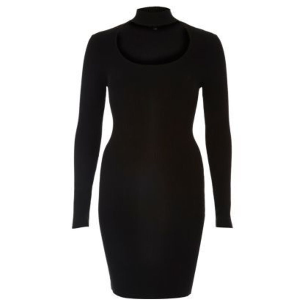 River Island Womens Black choker scoop neck ribbed dress