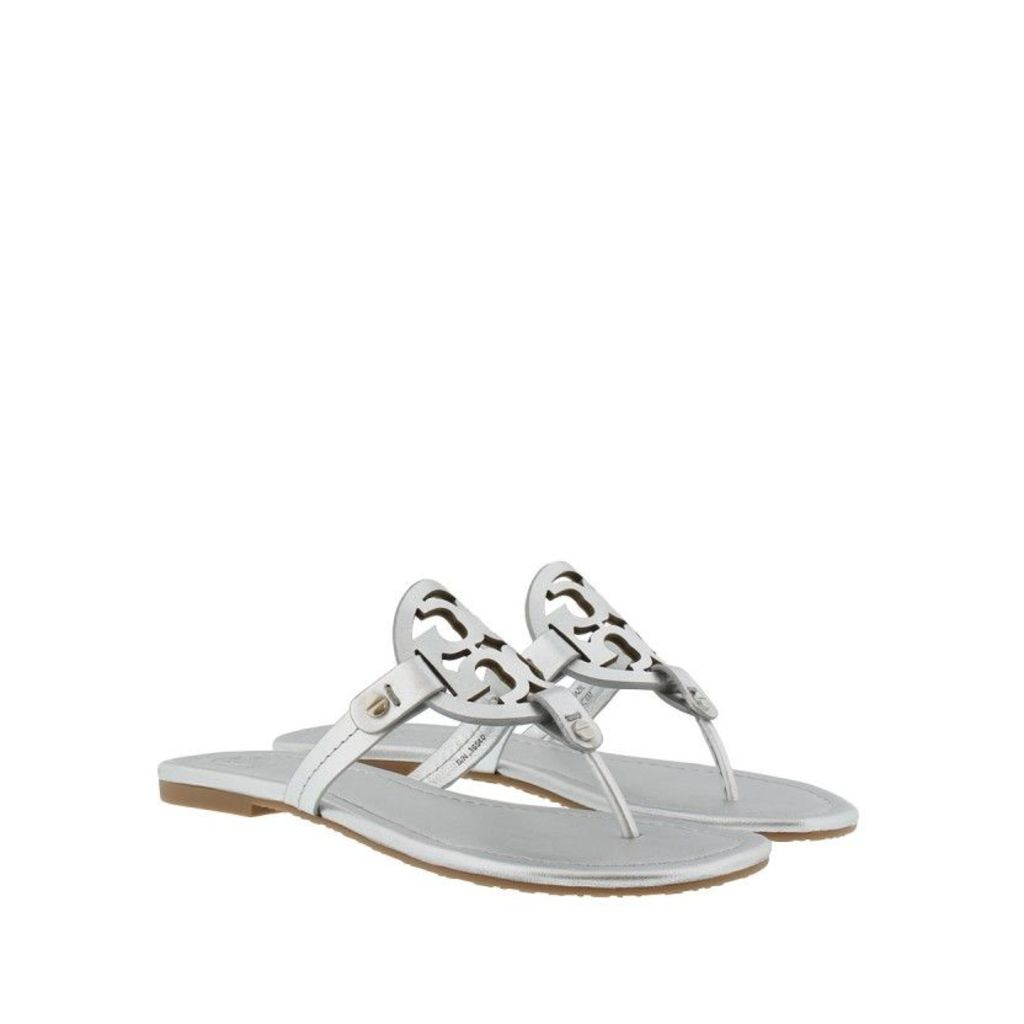 Tory Burch Sandals - Miller Metallic Veg Leather Sandal Silver - in silver - Sandals for ladies