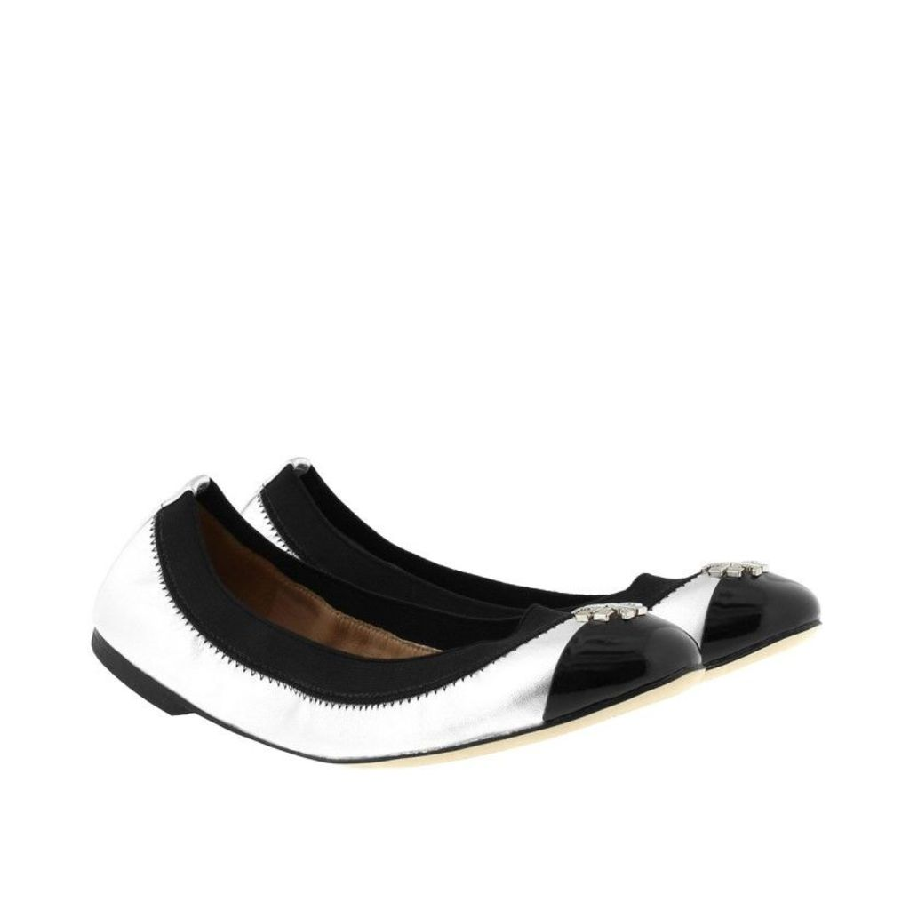 Tory Burch Ballerinas - Jolie Ballet Ballerina Patent Silver/Black - in silver - Ballerinas for ladies