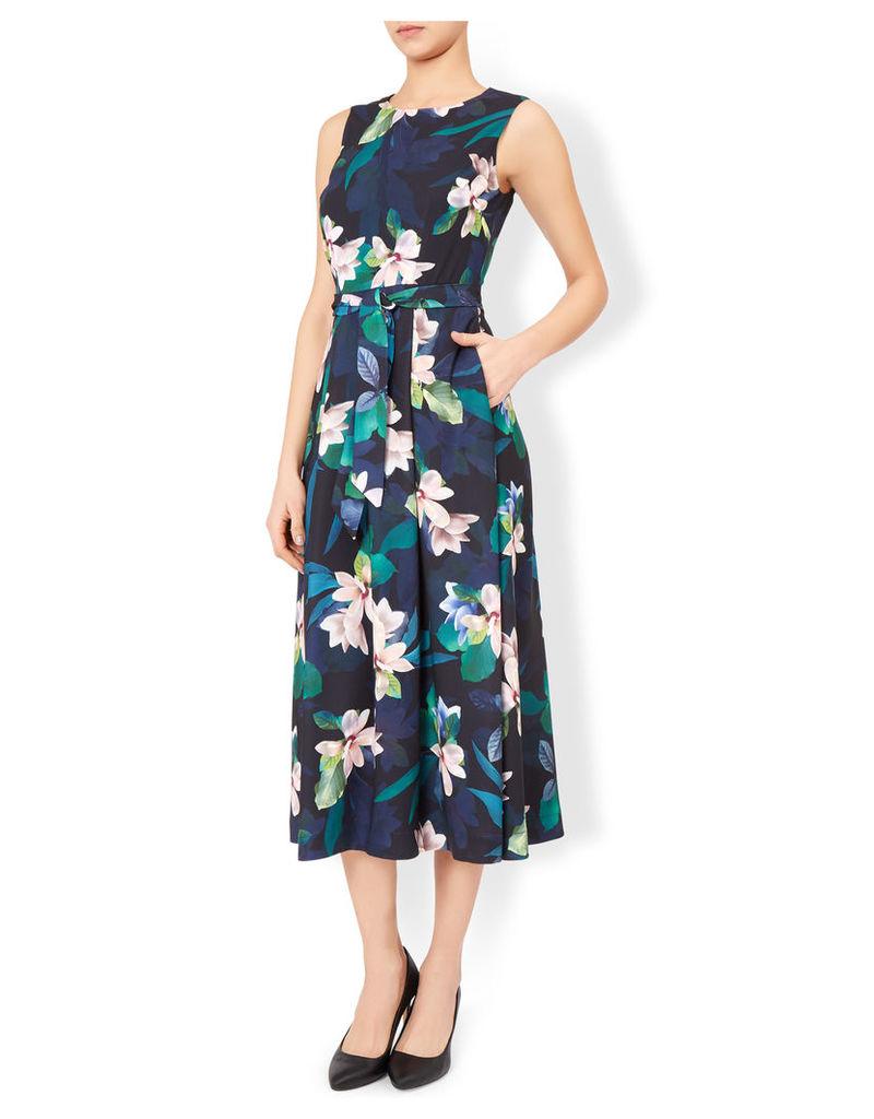 Magnolia Print Fit & Flare Midi Dress