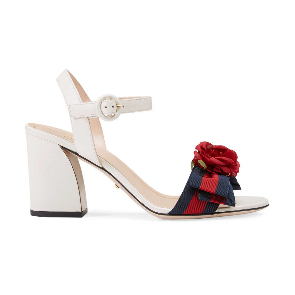Leather mid-heel sandal