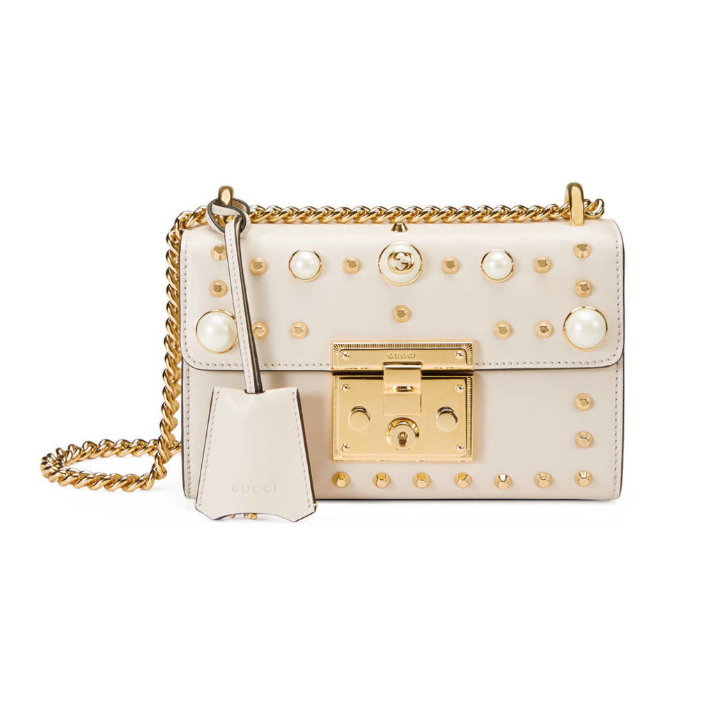 Padlock studded leather shoulder bag