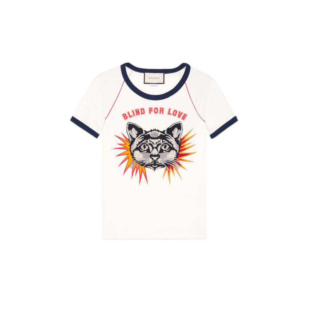 T-shirt with cat appliqué