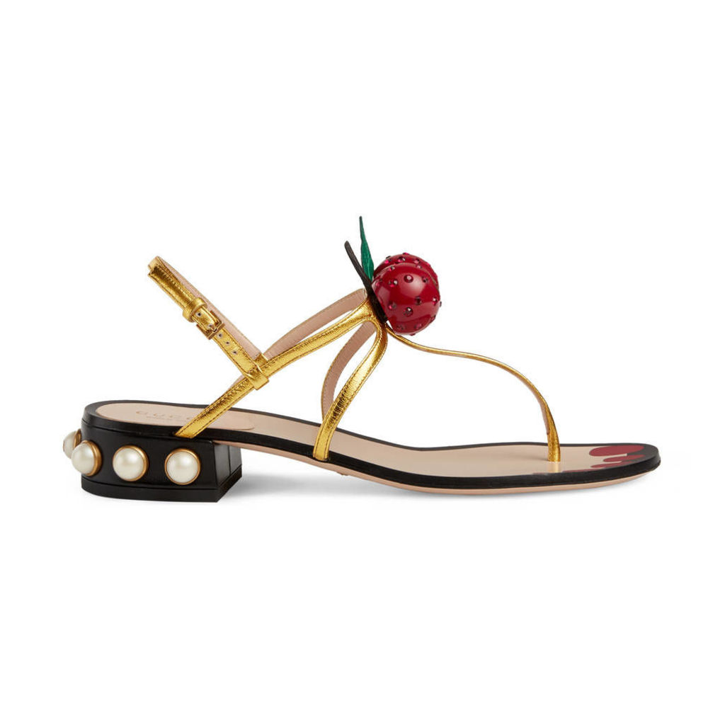 Metallic leather thong sandal