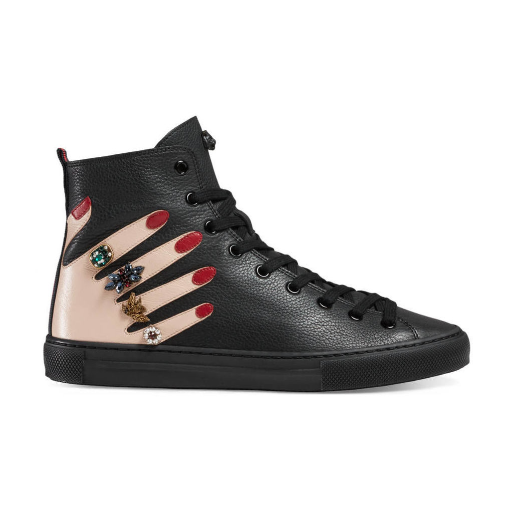 Embroidered leather high-top sneaker