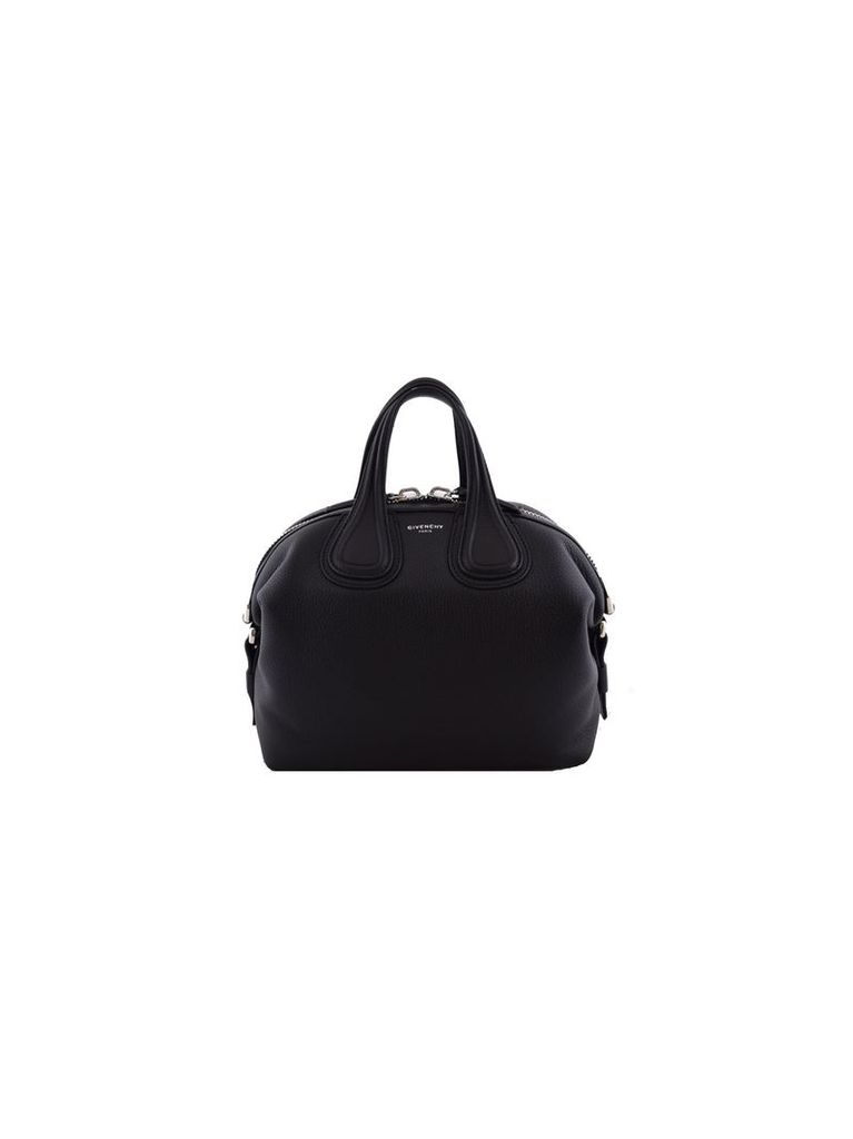 Small Nightingale Tote From Givenchy: Black Small Nightingale Tote With Top Zip Closure, Top Handles, Detachable And Adjustable Shoulder Strap, Silver