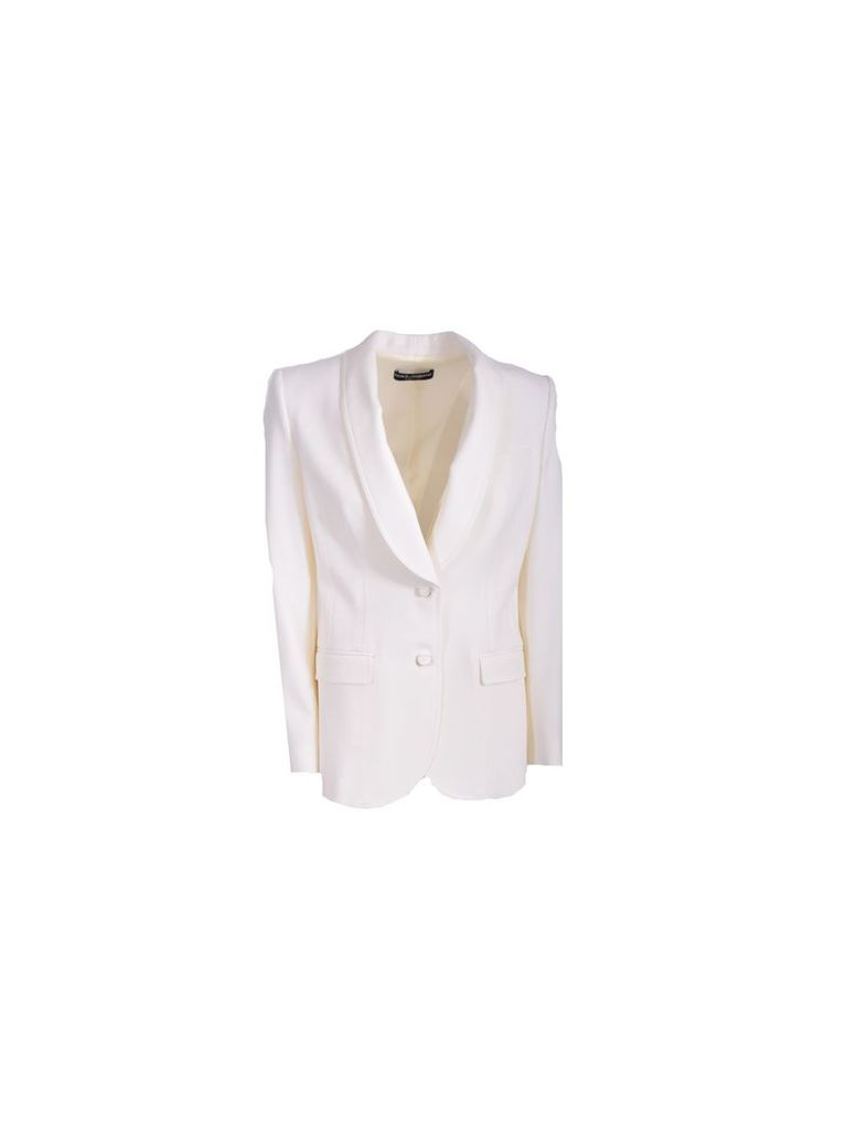 Classic Dress From Dolce & Gabbana: White Classic Dress With Shawl Lapel, Front Button Closure, Front Pockets, Long Sleeves, Buttoned Cuffs And A Back