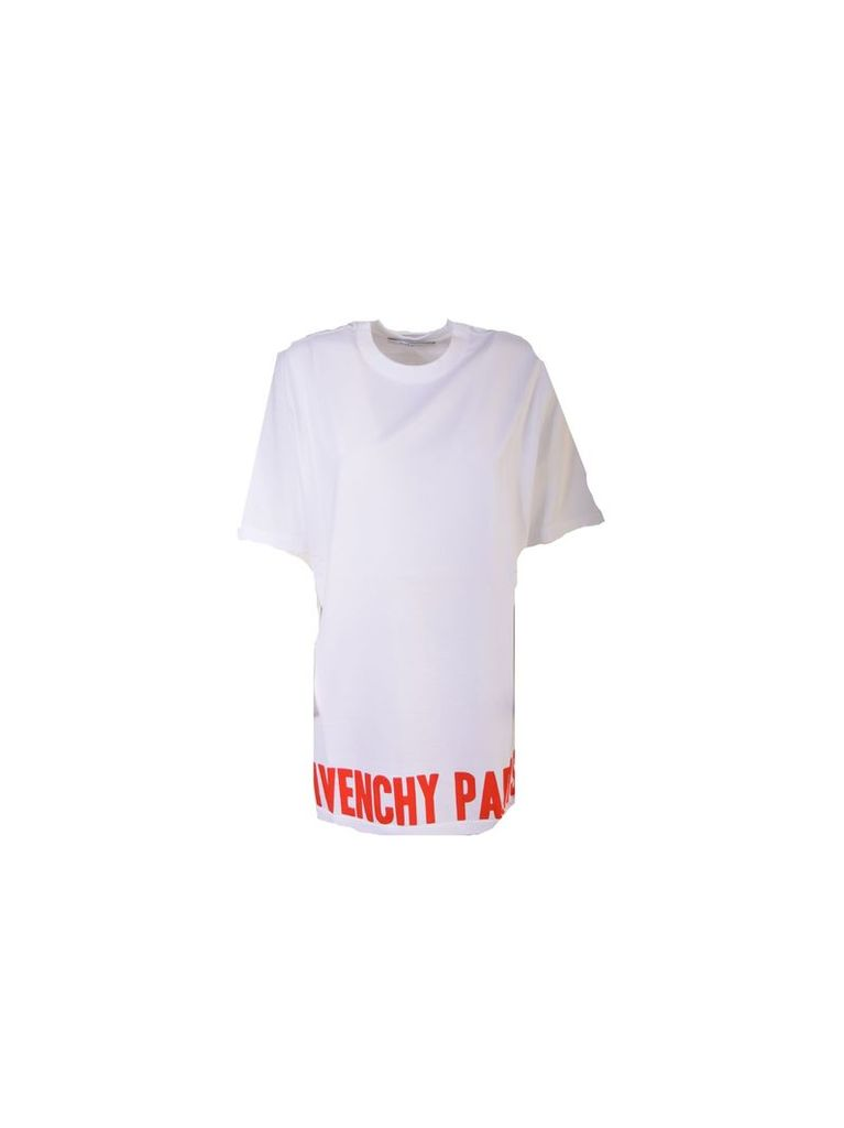 Logo Print T-shirt From Givenchy: White/red Logo Print T-shirt With Ribbed Crew Neck, Dropped Shoulders, Short Sleeves And Straight Hem.
