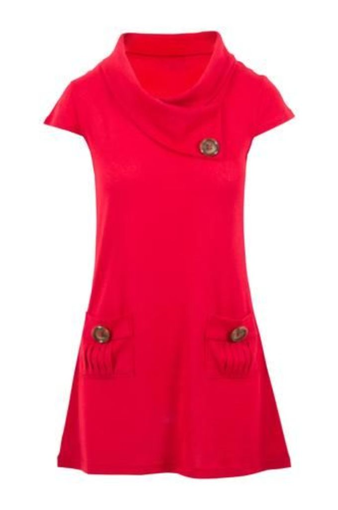 Tunic Top with Oversized Buttons