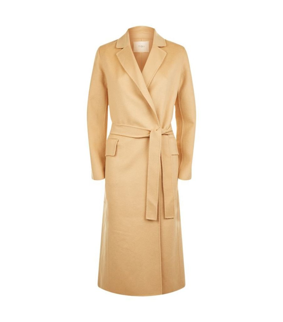 Maje, Geode Long Double Face Belted Coat, Female
