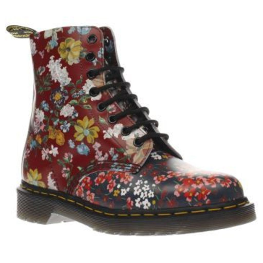 Dr Martens Multi Floral Pascal 8 Eye Womens Boots