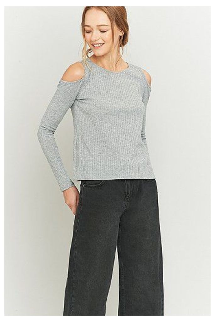 Urban Outfitters Ribbed Long Sleeve Cold Shoulder Top, Grey