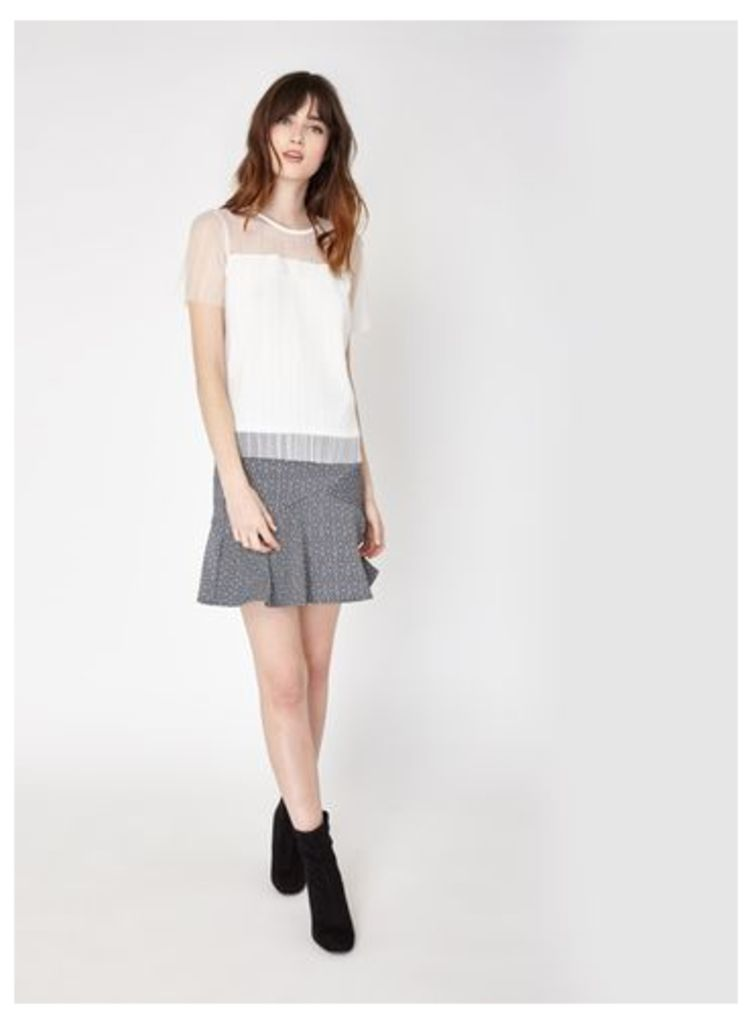 Womens Monochrome Jacquard Frill Hem Skirt, Grey