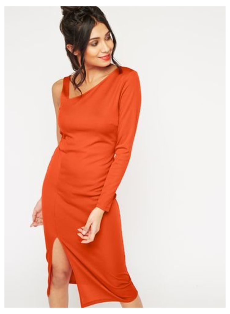 Womens Red One Shoulder Midi Dress, Red
