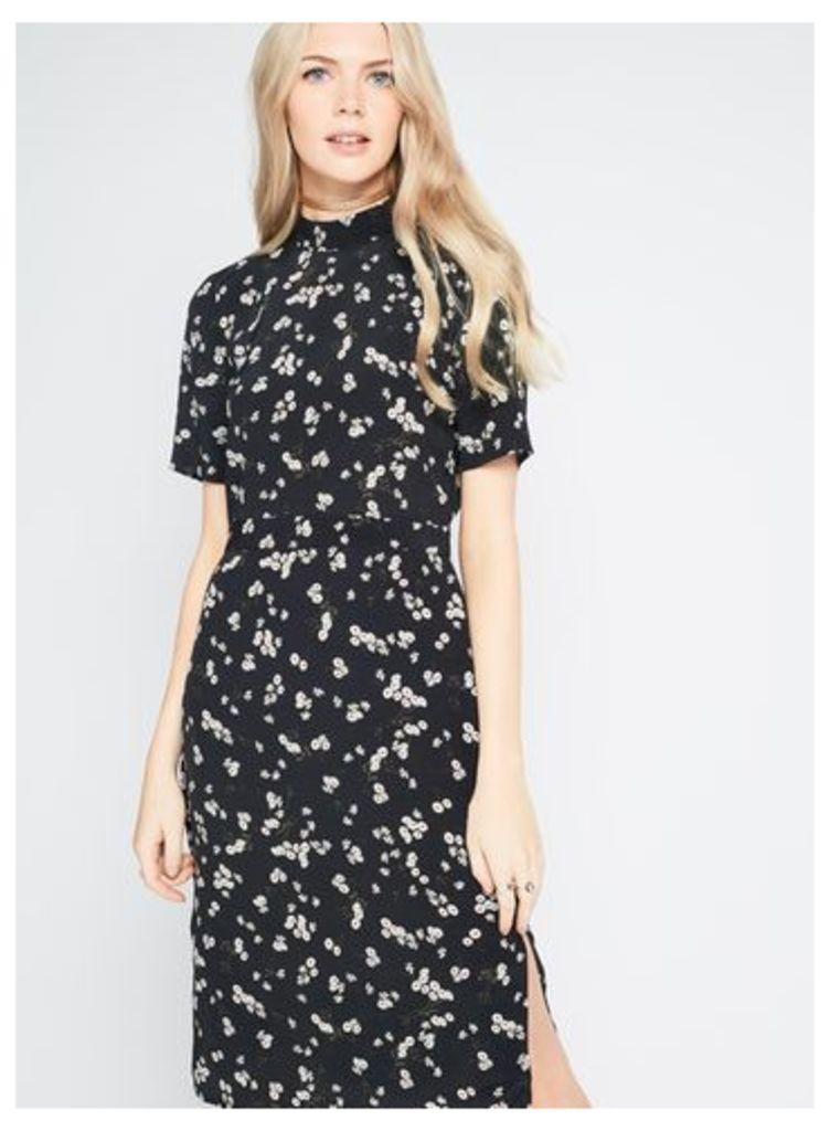 Womens Daisy Print High Neck Midi Dress, Black