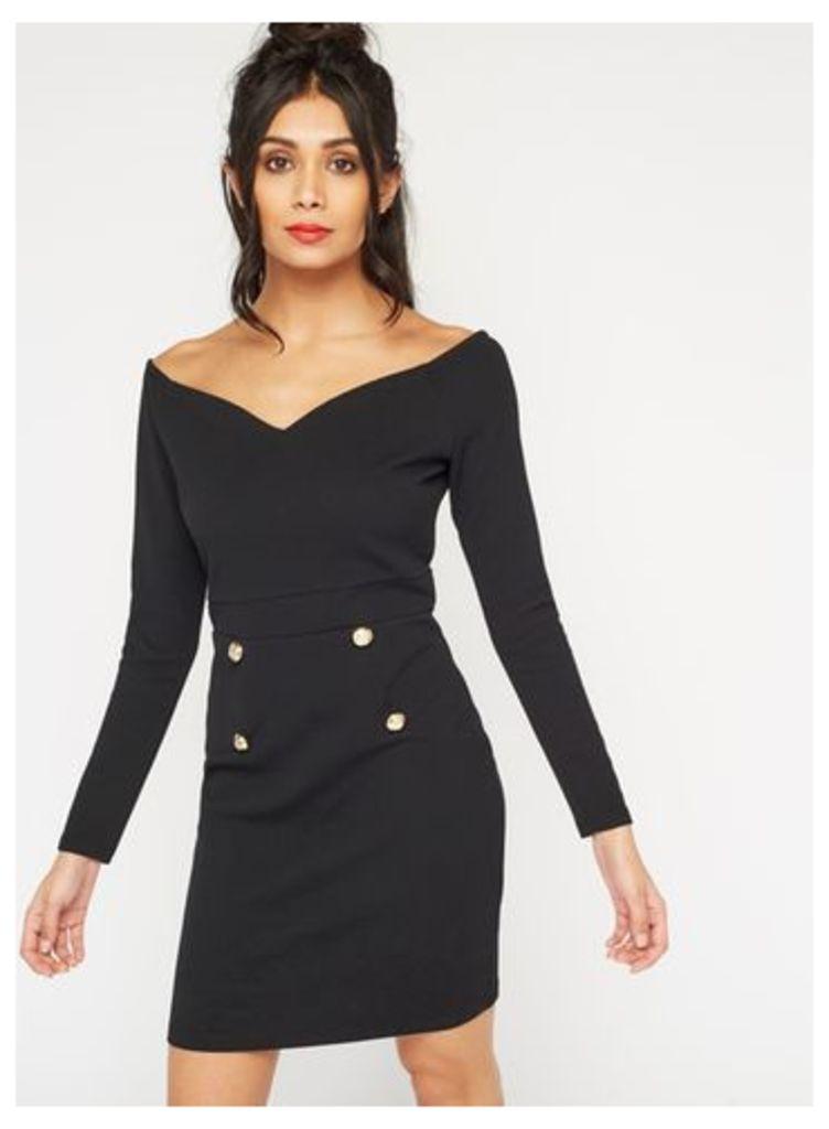 Womens Double Button Bodycon Dress, Black