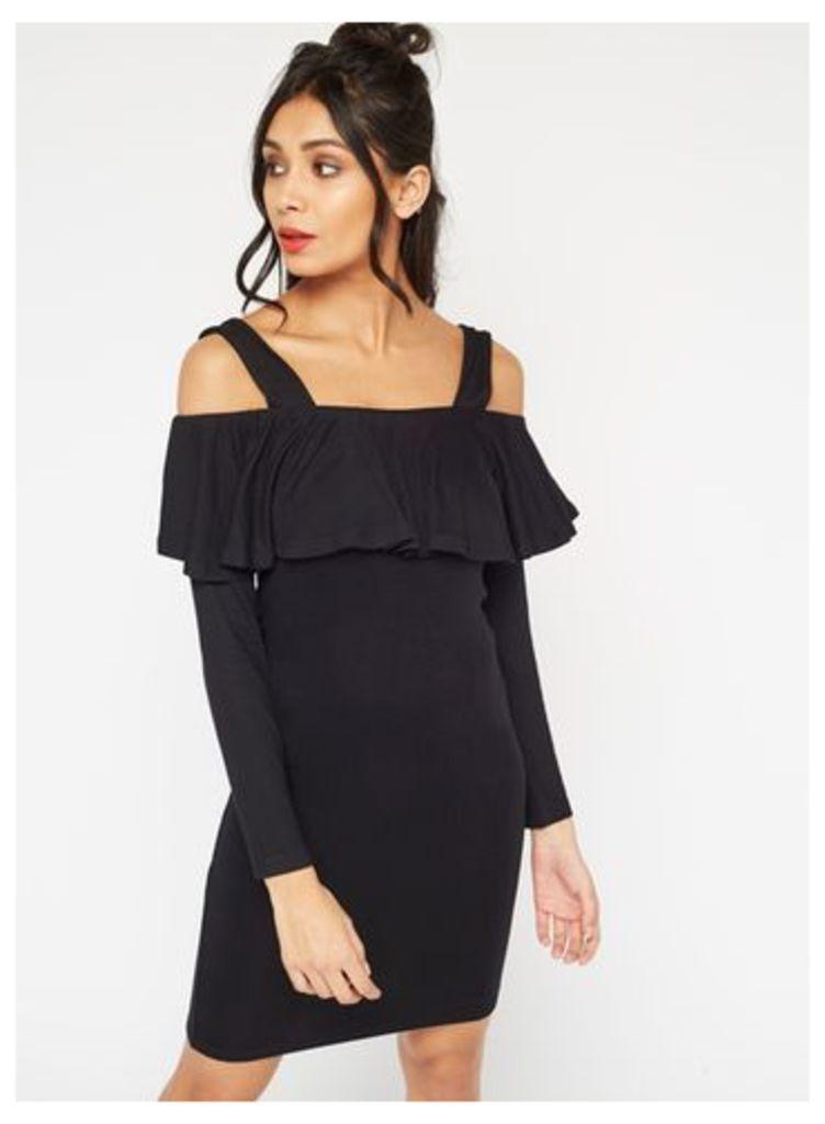 Womens Frill Cold Shoulder Dress, Black