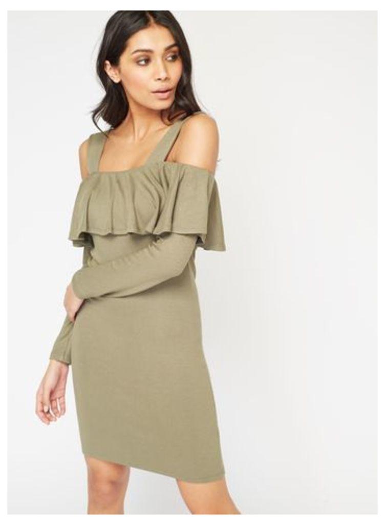 Womens Frill Cold Shoulder Dress, Khaki