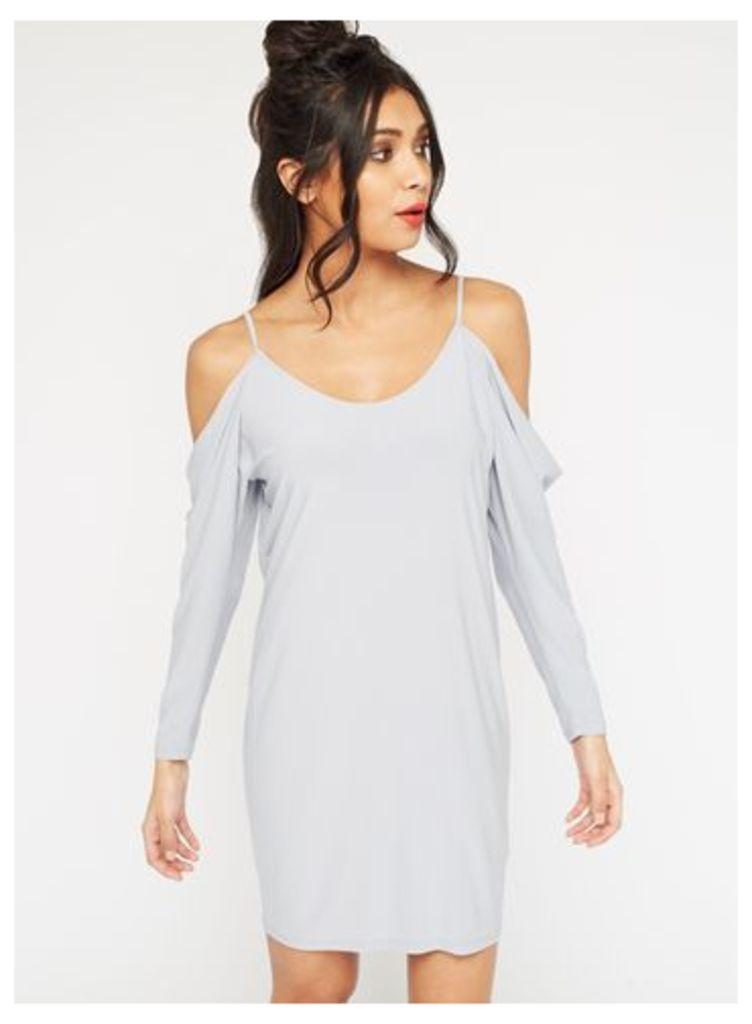 Womens Slinky Cowl Batwing Dress, Grey