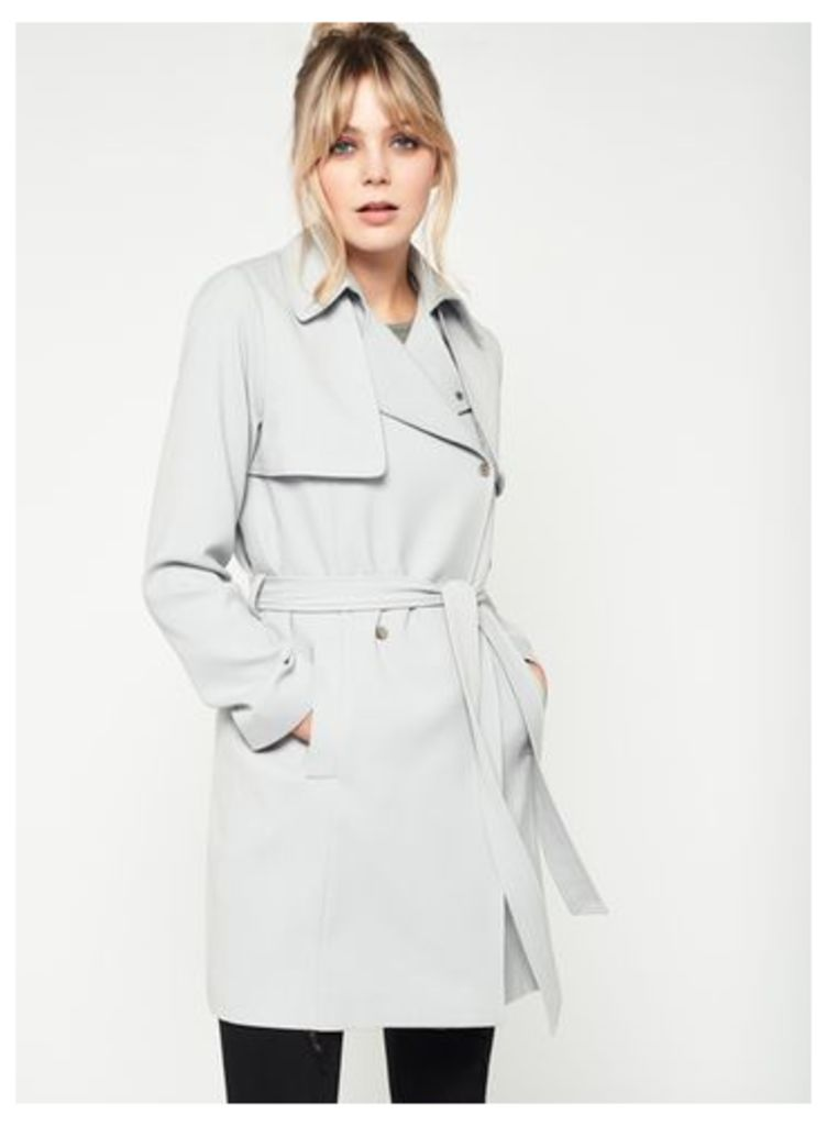 Womens Grey Belted Trench Coat, Grey