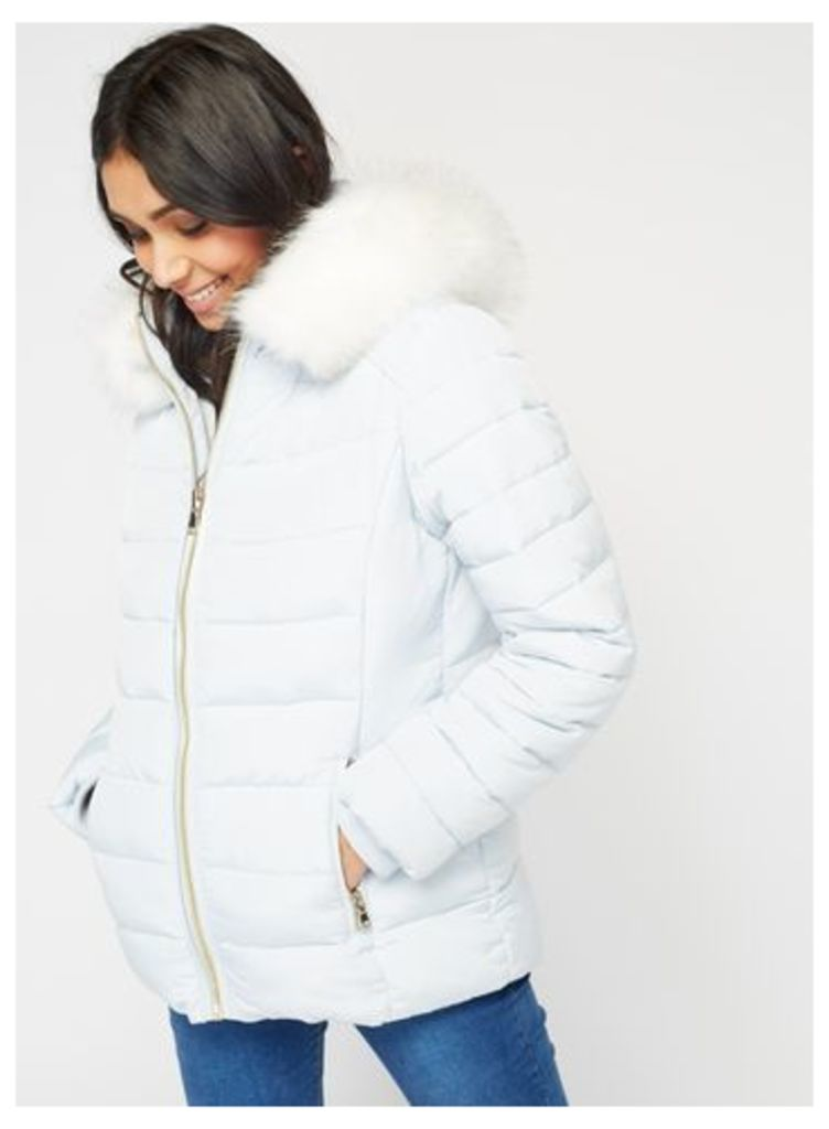 Womens Pale Blue Quilted Puffer Coat, Pale Blue