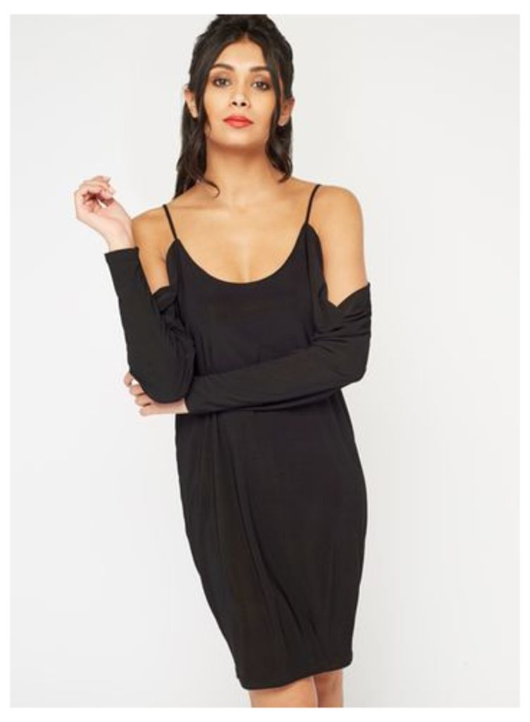 Womens Slinky Cowl Batwing Dress, Black
