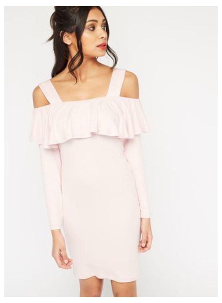 Womens Frill Cold Shoulder Dress, Pink