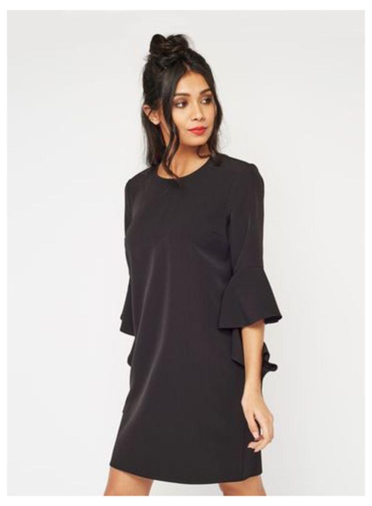 Womens Black Extreme Sleeve Tunic Dress, Black